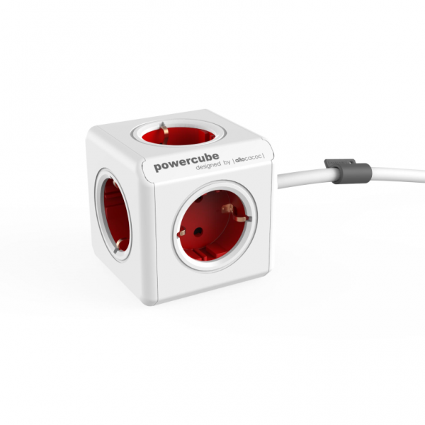 Allocacoc PowerCube Extended Red 3m cable