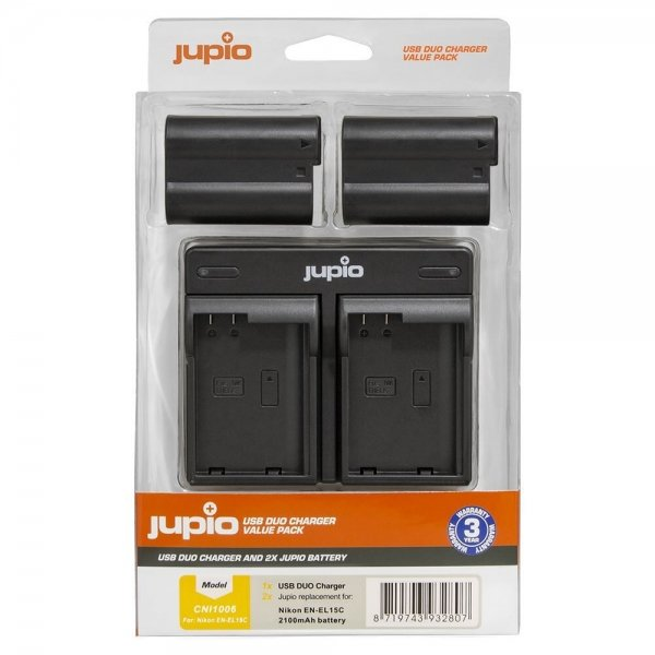 Jupio Value Pack: 2x Battery EN-EL15C 2100mAh + USB Dual Charger
