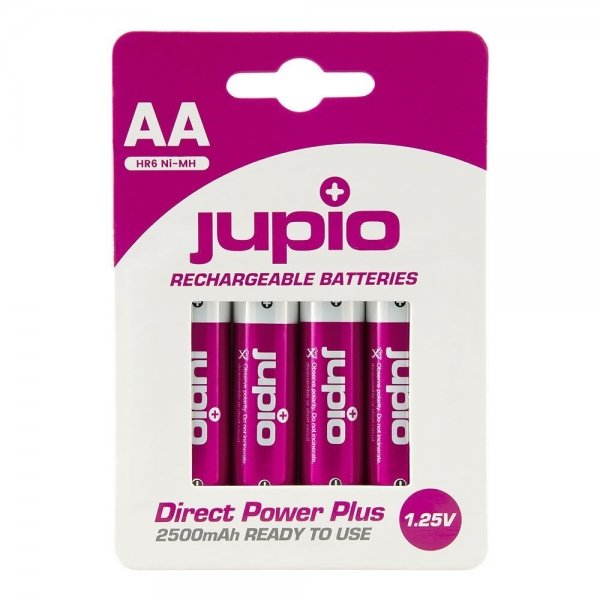 Jupio Rechargeable Batteries AA 2500 mAh 4 pcs DIRECT POWER PLUS